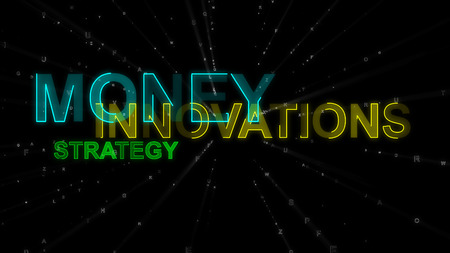 A businesslike 3d rendering of such concept words as innovation, money and strategy. They are blue, yellow and green in the black background. They look inspiring and rousing.