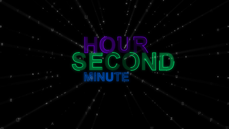 A motivational 3d rendering of such concept words as hour, minute and second. They are violet, blue and green in the spotted black background. They remind about importance of time.