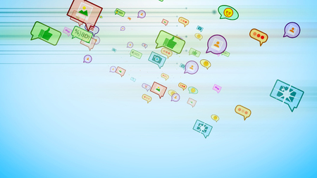 An optimistic 3d rendering of cyberspace multicolored social bubbles in the form of photos, emoticons, thumb ups, dates, pens, dots, flying aslant in the celeste background.