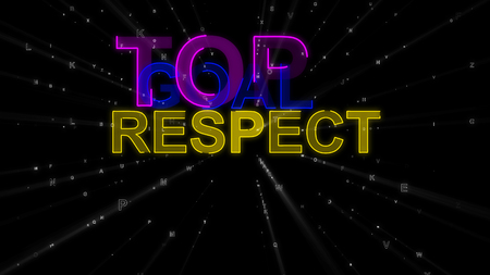 A cheerful 3d rendering of the following encouraging concept words: top, goal and respect. They are yellow, dark blue, and violet in the black background. They look optimistic.
