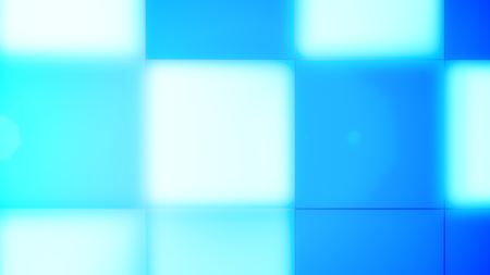 A merry 3d illustration of light blue, cyan and white square led square buttons composing a celebratory backdrop for some gala event. The joyful mood reigns.