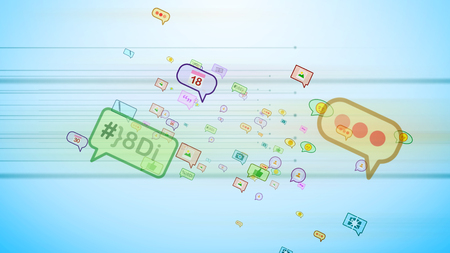 A positive 3d illustration of big and small colorful social bubbles in the form of pictures, emoticons, thumb ups, dates, quotes, flying askew in the cyan net background