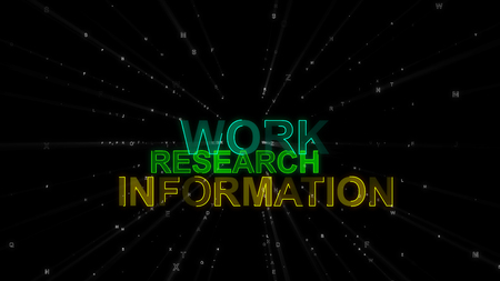 An impressive 3d illustration of such concept words as work, research and information. They are golden, salad and green in the spotted black background. They encourage to work.