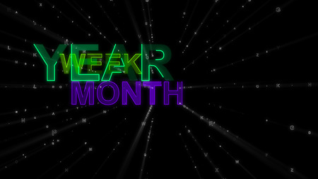 An effective 3d illustration of such concept words as year, week and month. They are violet, blue and green in the beaming black background. They remind about importance of planning. Banco de Imagens