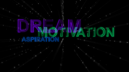 An impressive 3d rendering of such concept words as dream, motivation and aspiration. They are green, blue and violet in the black background. They inspire to achieve goals.
