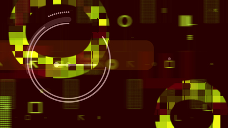A sci-fi 3d rendering of golden and white spheres full of overflowing techno chips, networks and templates composing some electronic processor in the dark brown backdrop.