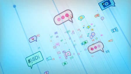 A cheery 3d illustration of soaring multicolored social bubbles in the form of photos, emoticons, thumb ups, dates, pens, dots, quotes in the celeste background. They are optimistic.