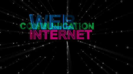 An arty 3d rendering of such concept words as web, communication and internet. They are purple, blue and green in the spotted black background. They inspire to surf the net. Banco de Imagens