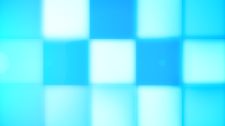 A celebratory 3d illustration of blue and white square led square buttons composing an optimistic background for some holiday. Cheerful mood is approaching!