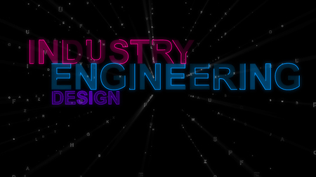 A motivational 3d rendering of such concept words as industry, engineering and design. They are purple, dark blue and violet in the spotted back background. They inspire to work.