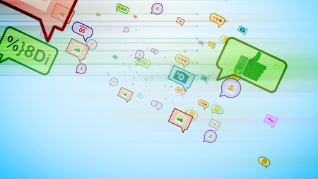 A cheerful 3d illustration of cyberspace colorful social bubbles in the form of photos, emoticons, thumb ups, dates, pens, dots, flying diagonally in the cyan background.