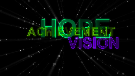 An exciting 3d illustration of such concept words as hope, achievement and vision. They are green, salad and violet in the black backdrop. They lead look beyond the horizons. 写真素材