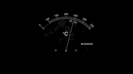A popular art 3d rendering of a retro temperature gauge with a white long arrow and two indicating white lines with high numbers and Celsius sign in the black background.