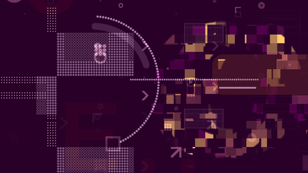A multidimensional 3d rendering of golden and white technological squares, rectangles, stripes, circles and arrows composing some processor grids in the dark violet background.