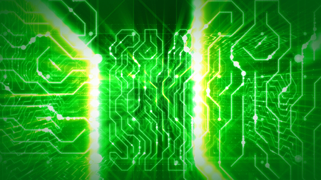 An innovative 3d rendering of a world circular board with two white and yellow routes, blurred mazes and intricacies, sparkling figures and objects in the green background.  Stock Photo