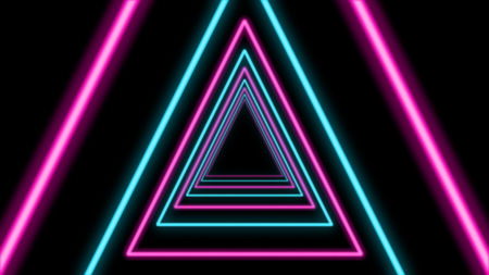 An exciting 3d rendering of an abstract tunnel from sparkling celeste and pink triangles in the black background. They look like a cyberspace time portal for astral trips. 写真素材