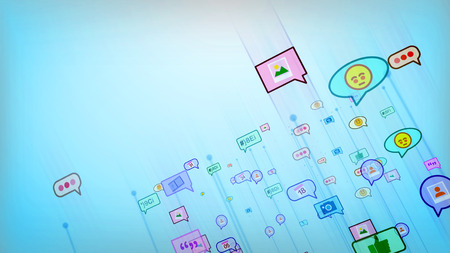 An optimistic 3d illustration of moving social bubbles in the form of photo, emoticon, smiley, text, dates, quotes in the celeste background. Social networking is cheerful.