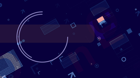 An arty 3d illustration of blue, white and pink technological squares, rectangles, stripes, circles and arrows making some template network in the dark blue background.