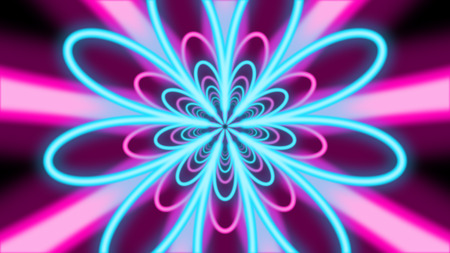 An amazing 3d rendering of an abstract nine-pointed flower tunnel from bright blue and rosy petals in the black background. They soar gracefully in a psychedelic way.