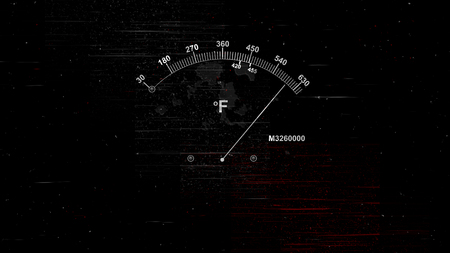 A retro 3d rendering of a temperature gauge with a white long arrow and two indicating white lines with high digits and Fahrenheit sign in the black background with red lines. Stock Photo