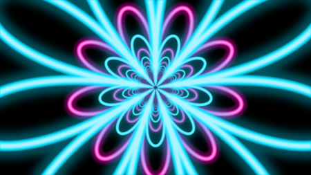 A striking 3d illustration of an abstract nine-pointed flower pipe from bright cyan and pink petals in the black background. They sparkle brightly and mesmerize