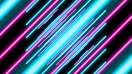 A holographic 3d illustration of an abstract tunnel from shining blue, violet and pink beams rushing diagonally in the black background. They create a psychedelic mood