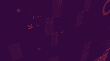 A graphic 3d rendering of erratic figures from pink squares, dots, arrows, rectangles and signs scattered in the dark violet backdrop. They look like some game components Stock Photo