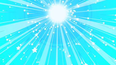 A merry 3d illustration of a plasma looking sun with wide and narrow rays gleaming around and having bright stars at their tops in the light blue and cheerful background.