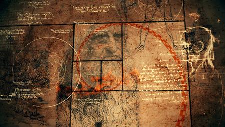Una ilustración 3d vintage del código Da Vinci con los textos sagrados, el retrato del genio barbudo, una cabeza humana, una esfera con círculos y una espiral dorada roja en cuadrados negros.