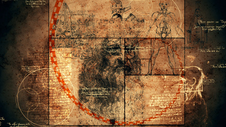 A retro 3d illustration of code Da Vinci with the Vitruvian man, showing anatomy details, portrait of the Italian genius, a human skull, a sphere with circles, and golden spiral.