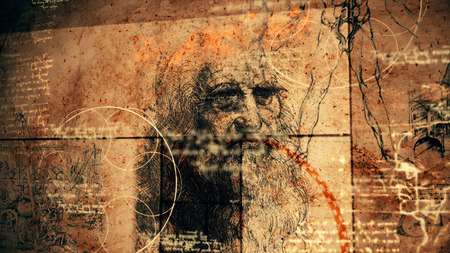A traditional 3d rendering of code Da Vinci with the portrait of the famous master in his old age, human legs, some appliances and bright short quotes written in the Italian language. Banco de Imagens - 102625129