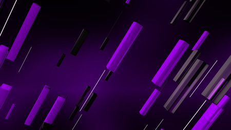 A futuristic 3d illustration of black and white lines dashing diagonally in the dark violet backdrop. They are full of sparkling energy and create the mood of optimism. Stock Photo