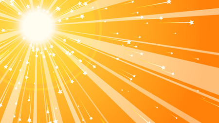 A lovely 3d illustration of a sparkling sun placed in an upper corner with luminous rays and flying five pointed stars in the yellow and brown backdrop full of happy dreams