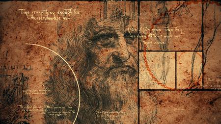 Een retro 3D-weergave van code Da Vinci met het portret van de wereldberoemde meester op zijn oude dag, een menselijk been, een constructie en korte teksten geschreven in de Italiaanse taal.