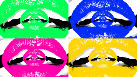 A fantasy 3d illustration of four appealing female mouths with plump lips and white teeth put in the multicolored backgrounds. Inside of them there are tender portals from small lips. Stock Photo