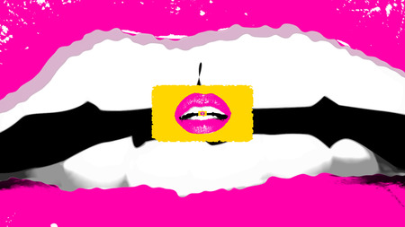 A passionate 3d rendering of a romantic female mouth with well shaped teeth and small rosy lips inside of it in the center of the picture. It looks like a pop art fantasy.