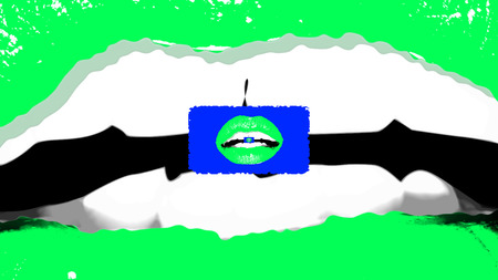 An arty 3d rendering of a romantic green female mouth with well shaped teeth and small green lips inside of it in the center of the picture. It looks like a pop art fancy.