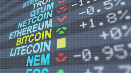 An arty 3d illustration of multicolored crypto currency exchange symbols of  Bitcoin, Litecoin, Nem with digits, signs, pluses and minuses, arrows, on a black screen put aslant Stock Photo