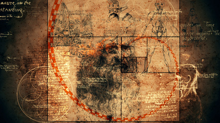 A graphic 3d illustration of code Da Vinci with the portrait of the old Italian genius, a human skull, some sphere with six circles, some texts and a red spiral of golden ratio.  Stock Photo