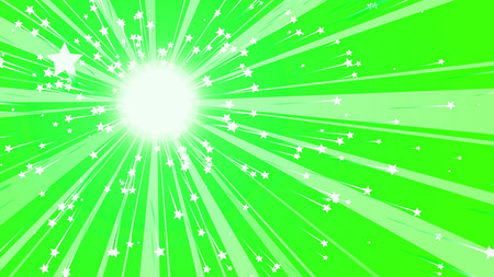 A retro 3d rendering of a radiant sun with straight rays beaming around and glittering stars at their spikes in the light green background. The image generates a cheery mood. Banco de Imagens