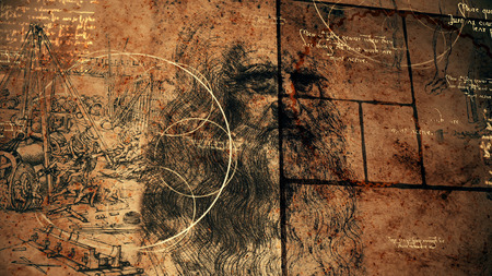 A breathtaking 3d illustration of code Da Vinci deciphered in a golden spiral, black squares, bright quotes and the portrait of the old bearded Italian master looking enigmatically.