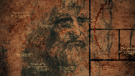 A wise 3d illustration of code Da Vinci placed in a golden ratio, black squares, brainy quotes and the portrait of the ancient bearded Italian man looking mysteriously through ages.  Stock Photo