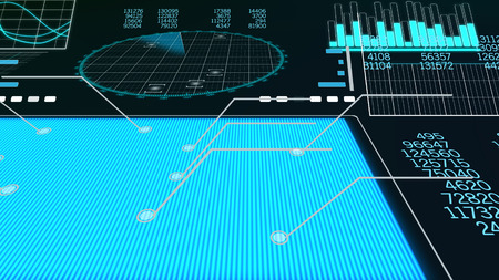 A futuristic 3d rendering of a plane scanner with a blue rectangle, columns of numbers, histograms, sinusoids, bar charts, and a large round screen put aslant with craft spots.