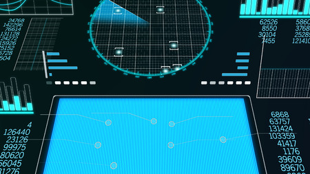 A hi-tech 3d illustration of a plane scanner with a blue rectangle, rows of digits, histograms, sinusoids, pie charts, and a large round screen put aslant with detected aircraft dots.  Stock Photo