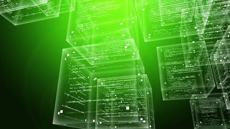 An ultramodern 3d illustration of crystalline program code boxes flying in the green pc cyberspace full of new software signs, symbols, numbers and letters.