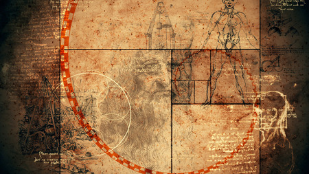 An impressive 3d rendering of code Da Vinci with the portrait of the Italian master, a human skull, some construction and the Vitruvian man showing the anatomy of a person.