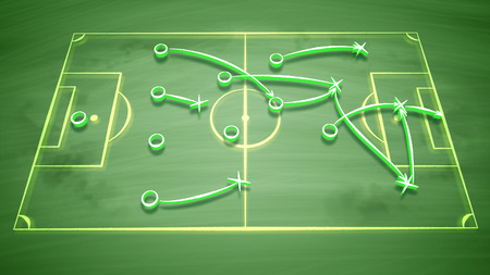 A well-tuned 3d illustration of a soccer field covered with zeroes, crosses and arrows. It shows how the team should give passes to score a goal and to get the victory. It looks great