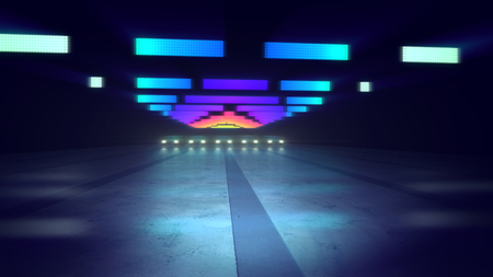 A wonderful 3d rendering of colorful neon illumination of an underground path in the blue and grey background. The horizontal pixilated blue, red and celeste lines shine brightly