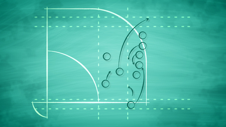 An optimistic 3d illustration of a sport field for American baseball field full of zeroes and arrows. It displays the tactics of a pitcher and a batter wishing to be victorious. Stock Photo