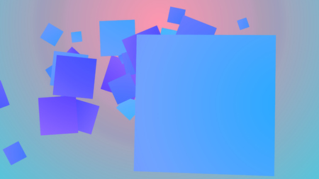 A merry 3d illustration of spinning big and small squares of blue, violet and celeste colors frolicking joyfully in light purple and blue background. They look hilarious Stock Photo